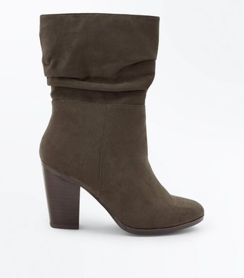 Wide Fit Khaki Suedette Block Heel Calf Boots New Look