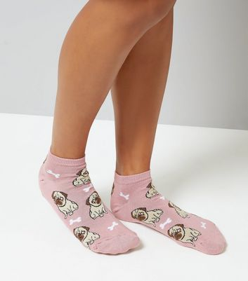 Pink Pug Pattern Trainer Socks New Look
