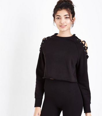 Black Lace Up Sports Sweater New Look