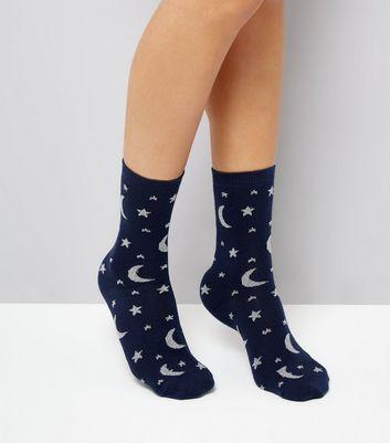 Navy Glitter Cosmic Print Socks New Look