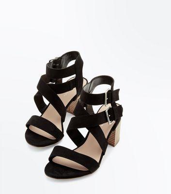 Black Suedette Buckle Side Strappy Block Heels New Look