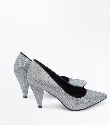 Wide Fit Silver Glitter Cone Heel Court Shoes New Look