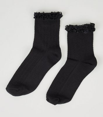 Black Frill Trim Cable Knit Ankle Socks New Look