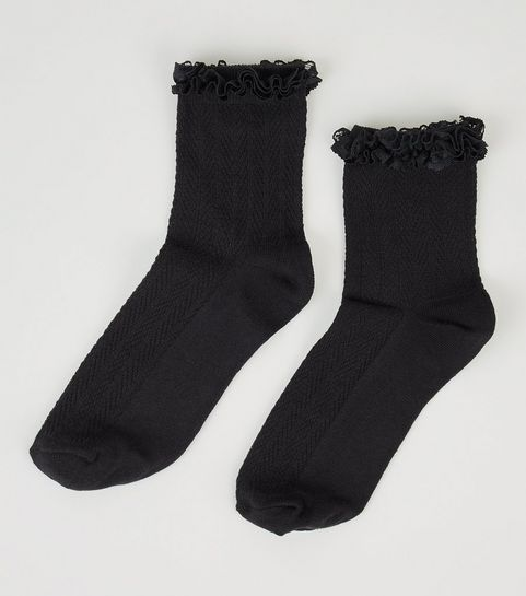 8b68be7a9e4 ... Black Frill Trim Cable Knit Ankle Socks ...