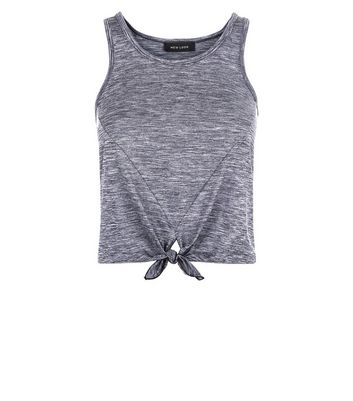 Grey Marl Tie Front Sports Vest New Look