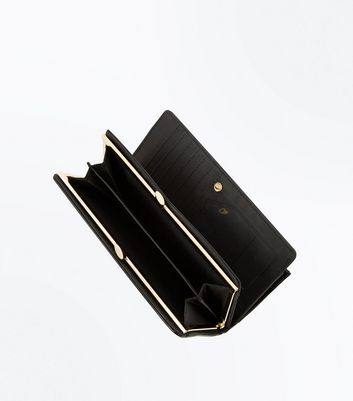 Black Patent Leather Look Purse New Look
