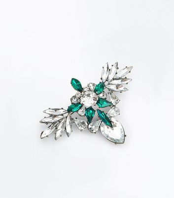 Silver Diamante Embellished Brooch New Look