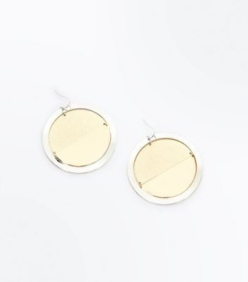 Gold Contrast Disc Circle Earrings New Look