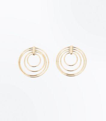 Gold Metallic Multi Circle Earrings New Look