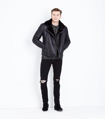 Black Shearling Aviator Jacket New Look