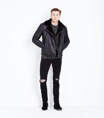 Black Shearling Aviator Jacket New Look