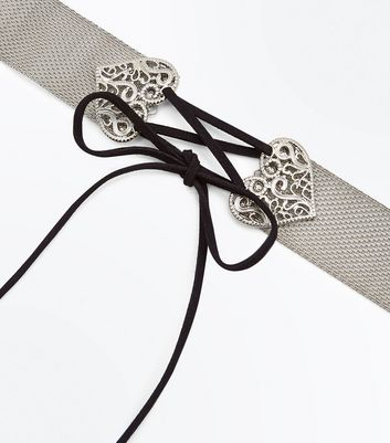 Silver Mesh Lace Up Heart Choker New Look