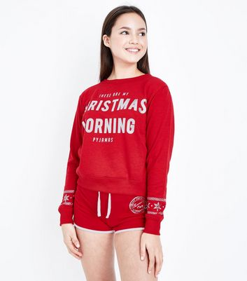 Teens Red Christmas Slogan Pyjama Set New Look