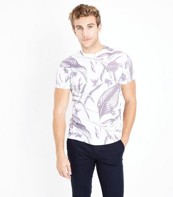 White Tropical Slogan Badge Print T-Shirt New Look