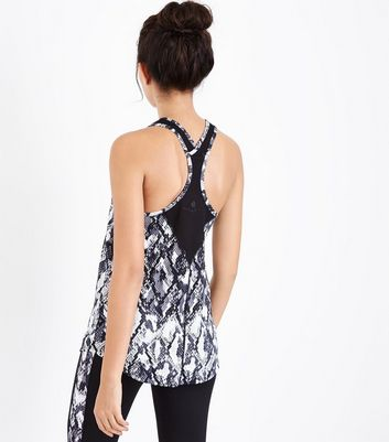Black Snakeskin Print Sports Vest New Look