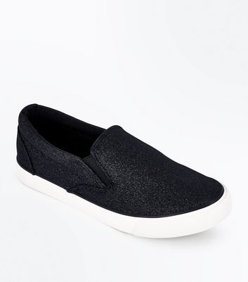 Black Glitter Slip On Plimsolls New Look