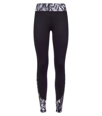 Black Snakeskin Print Panel Sports Leggings New Look