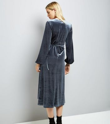 Blue Vanilla Silver Velvet Wrap Dress New Look