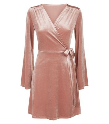 Blue Vanilla Pink Velvet Flared Sleeve Wrap Dress New Look