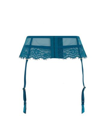 Teal Lace Studded Suspender Belt New Look