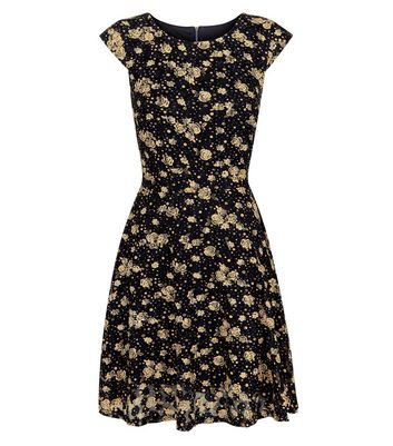 Mela Black Spot and Rose Print Dress New Look