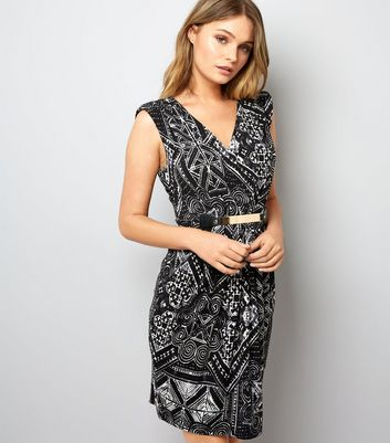 Mela Black Abstract Print Silver Plate Belt Dress New Look