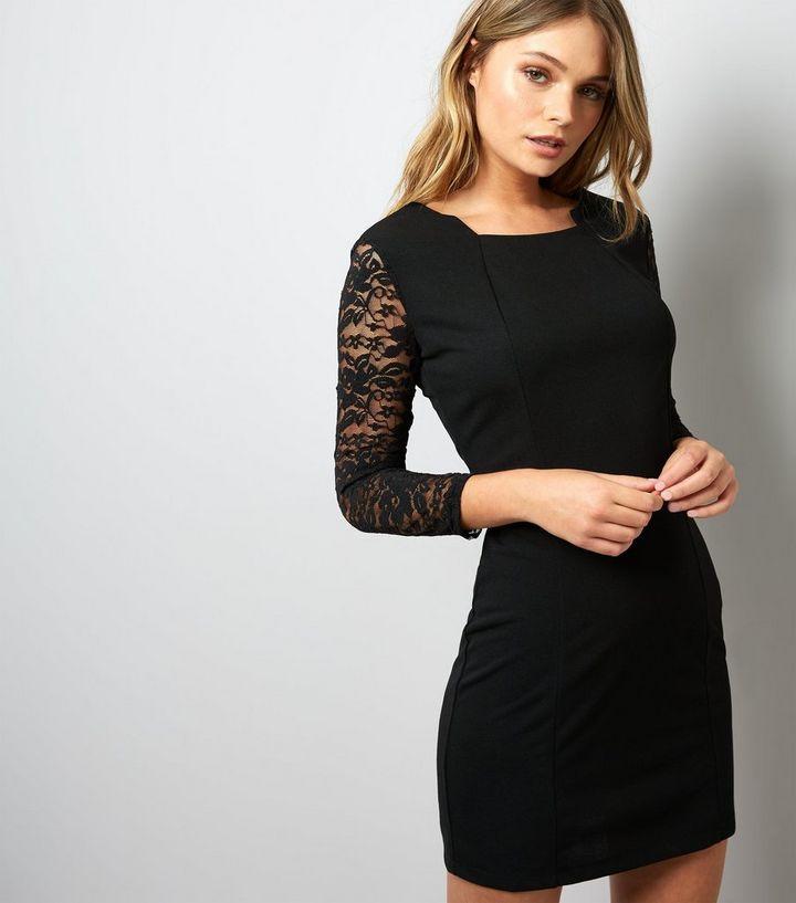 0d0b491b70bb5 Mela Black Lace Sleeve Bodycon Dress