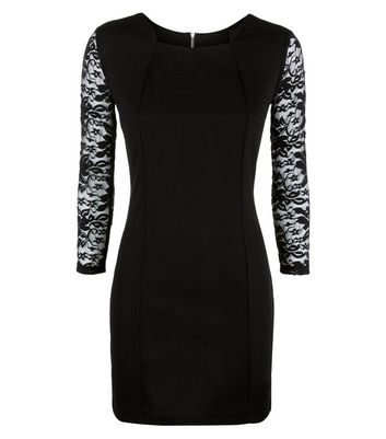 Mela Black Lace Sleeve Bodycon Dress New Look