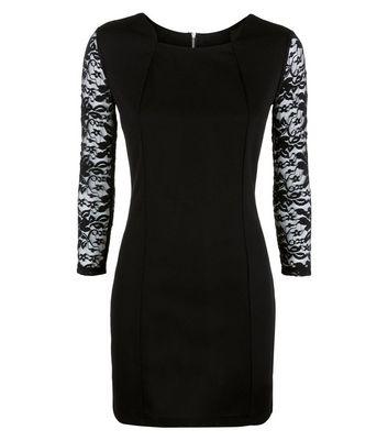 Mela Black Lace Sleeve Bodycon Dress New Look
