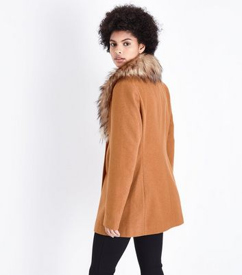 Tall Tan Faux Fur Collar Double Breasted Coat New Look