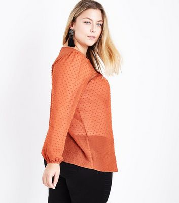 Curves Rust Long Sleeve Lace Up Front Blouse New Look