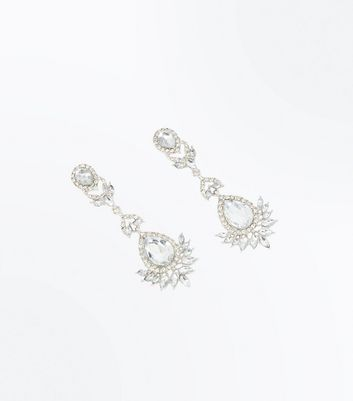 Silver Embellished Chandelier Earrings New Look