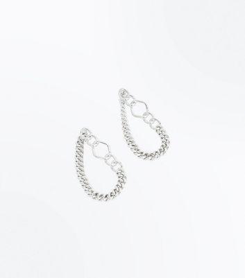 Silver Chain Loop Earrings New Look