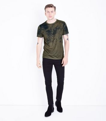 Brown Ink Splatter T-Shirt New Look