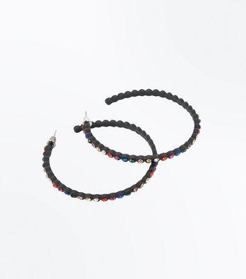 Black Multi Coloured Gem Stone Hoop Earrings New Look