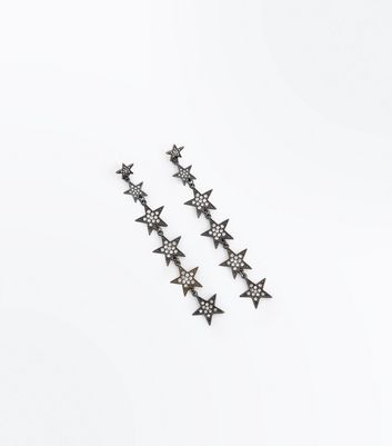 Metallic Embellished Star Shoulder Duster Earrings New Look