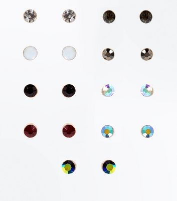 9 Pack Iridescent Gem Stone Stud Earrings New Look
