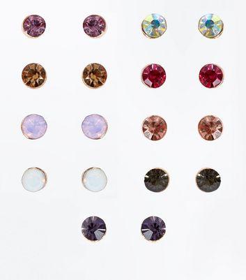 9 Pack Multi Coloured Gem Stud Earrings New Look