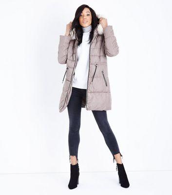 Stone Longline Hooded Puffer Jacket New Look