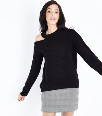 Black Cut Out Shoulder Jumper New Look