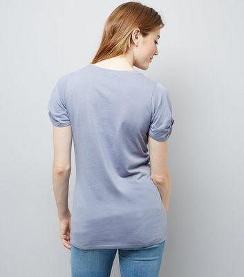 Maternity Blue Knot Sleeve T-Shirt New Look