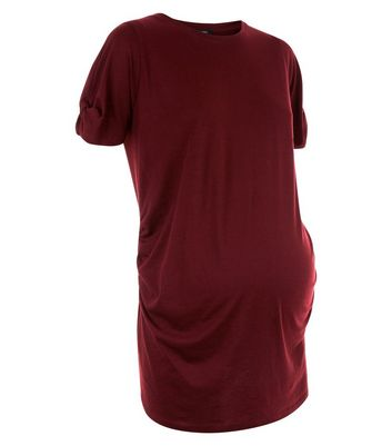 Maternity Burgundy Knot Sleeve T-Shirt New Look