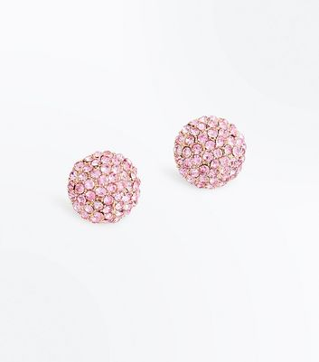 Pink Diamante Embellished Ball Studs New Look