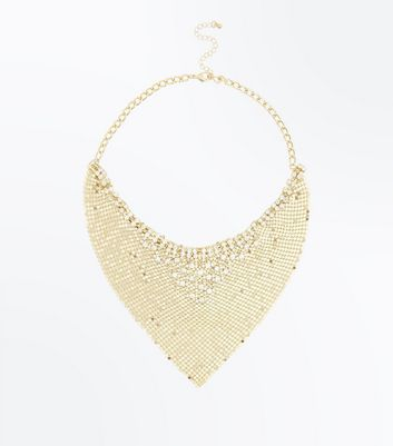 Gold Statement Chainmail Necklace New Look