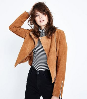 Tan Suede Biker Jacket New Look