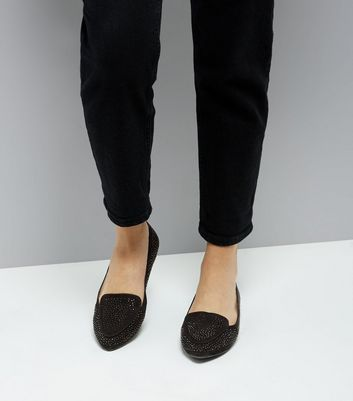 Wide Fit Black Suedette Gem Embellished Loafers New Look