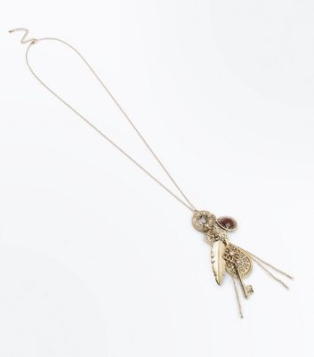 Gold Long Clustered Charm Necklace New Look