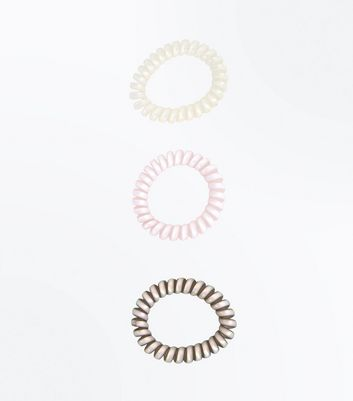 3 Pack Iridescent Spiral Hair Bobbles New Look