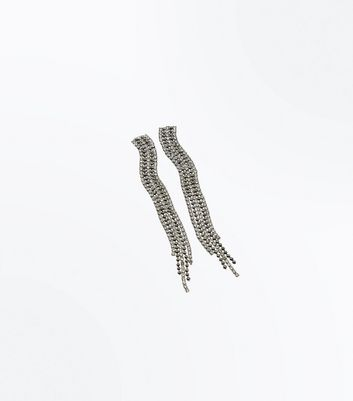 Pewter Diamante Embellished Tassel Earrings New Look