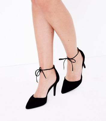 Black Comfort Flex Suedette Ankle Tie Heels New Look